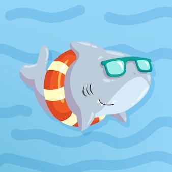 漫画スタイルの赤ちゃんサメ