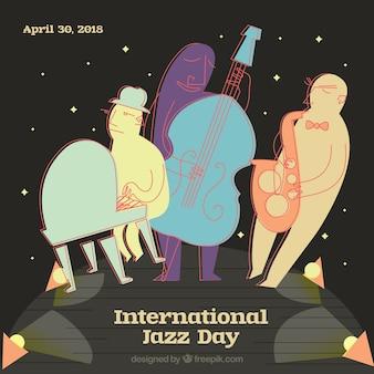 Priorità bassa di stile del fumetto per la giornata internazionale del jazz