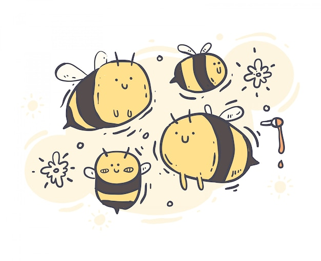 Cartoon style bee doodle. bee vector illustration