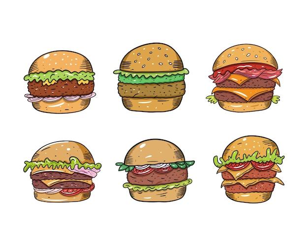 만화 스타일 햄버거 세트. 흰색 배경에 고립. 머그잔, 블로그, 카드, 포스터, 배너 및 티셔츠에 대한 텍스트 디자인을 스케치하십시오.
