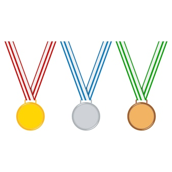 Cartoon style champion medal set isolated on white background golden, silver, bronze medal with stripped red, blue, green ribbon.