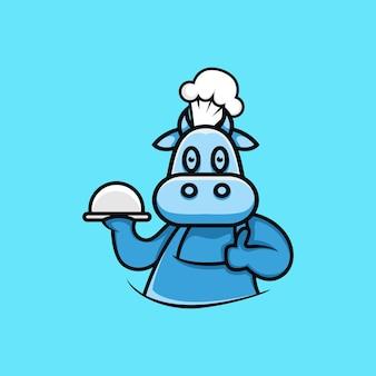 만화 스타일 요리사 암소 캐릭터 그림