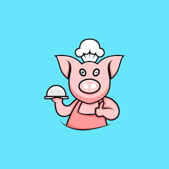 Cartoon style chef pig character illustration