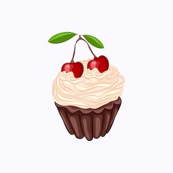 ホイップクリームと白い背景で隔離の桜のベクトルアイコンと漫画スタイルのチョコレートカップケーキ