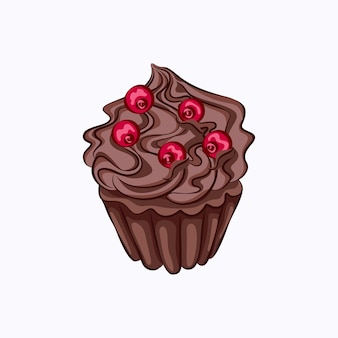 Cartoon style chocolate cupcake with whipped cream ganache and red berry vector icon.