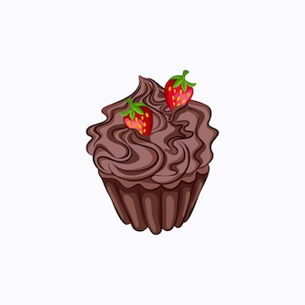 Cartoon style chocolate cupcake with whipped cream ganache and strawberry vector icon isolated on the white background