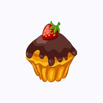 Cartoon style chocolate glazed muffin with strawberry vector icon isolated on the white background