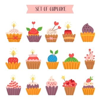 Cartoon style collection of sweet cupcakes