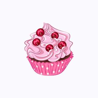 ピンクのホイップクリームと白い背景で隔離の紙ホルダーベクトルアイコンの赤いベリーと漫画スタイルのカップケーキ