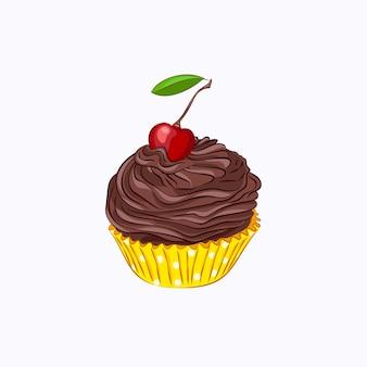 白い背景で隔離の黄色い紙ホルダーベクトルアイコンでホイップチョコレートクリームガナッシュとチェリーと漫画スタイルのカップケーキ