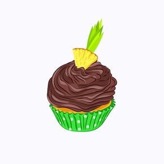 白い背景で隔離の緑の紙ホルダーベクトルアイコンでホイップチョコレートクリームガナッシュとパイナップルと漫画スタイルのカップケーキ