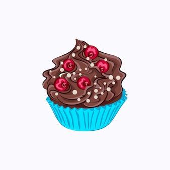 青い紙ホルダーにホイップチョコレートクリームガナッシュと赤いベリーと漫画風のカップケーキ