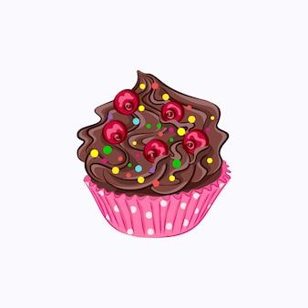 白い背景で隔離のピンクの紙ホルダーベクトルアイコンでホイップチョコレートクリームガナッシュと赤いベリーと漫画スタイルのカップケーキ
