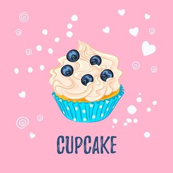 ピンクの背景の青い紙ホルダーベクトルアイコンにホイップクリームとブルーベリーの漫画スタイルのカップケーキ