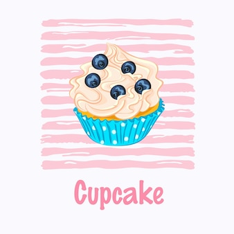 ピンクの縞模様の背景の青い紙ホルダーベクトルアイコンにホイップクリームとブルーベリーの漫画スタイルのカップケーキ