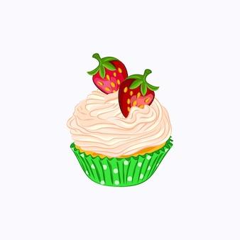 白い背景で隔離の緑の紙ホルダーベクトルアイコンでホイップクリームとイチゴと漫画スタイルのカップケーキ