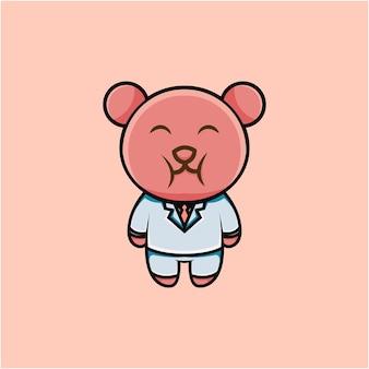 Cartoon style cute businessman bear character illustration