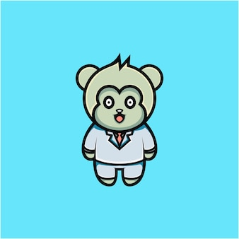 Cartoon style cute businessman monkey character illustration