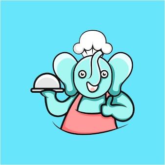 만화 스타일의 귀여운 요리 코끼리 그림