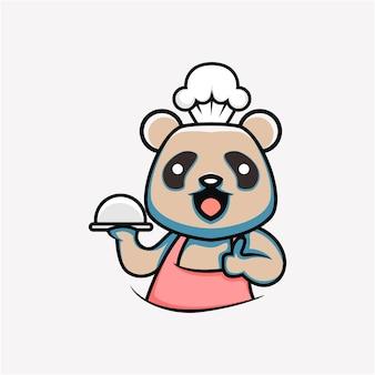 만화 스타일의 귀여운 요리 팬더 그림 프리미엄 벡터