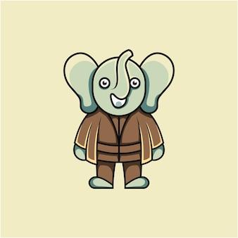 만화 스타일의 귀여운 코끼리 마스터 그림