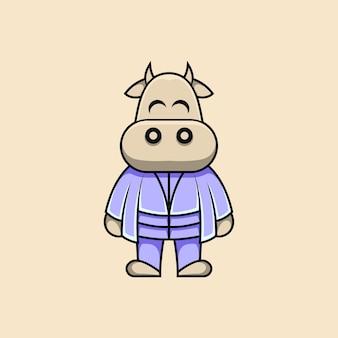 Cartoon style cute master cow illustration