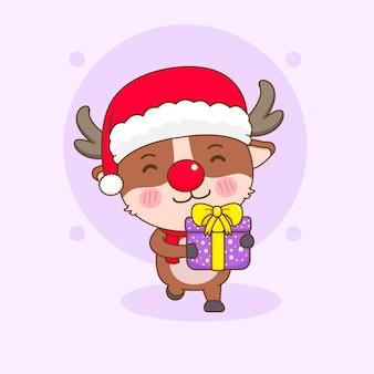 クリスマスプレゼントを保持している漫画風のかわいいトナカイのキャラクター
