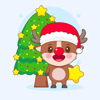クリスマスツリーと星を保持している漫画スタイルのかわいいトナカイのキャラクター