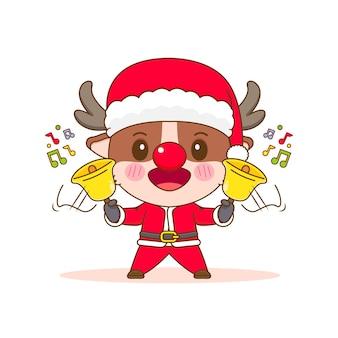 サンタの衣装で漫画風のかわいいトナカイのキャラクター