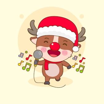 漫画風のかわいいトナカイのキャラクターが息子を歌う