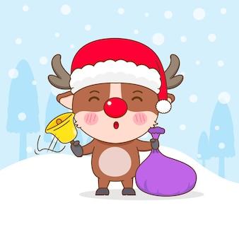 クリスマスプレゼントと金色の鐘と漫画風のかわいいトナカイのキャラクター