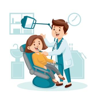 漫画スタイルの歯科治療の概念