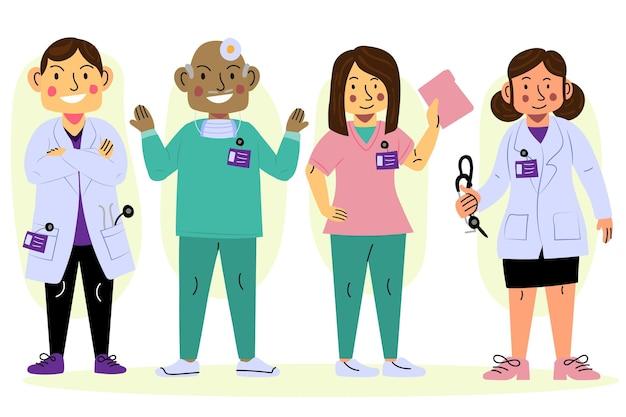 만화 스타일의 의사와 간호사