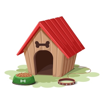 Cartoon style dog house with collar and food bowl. isolated on white background.