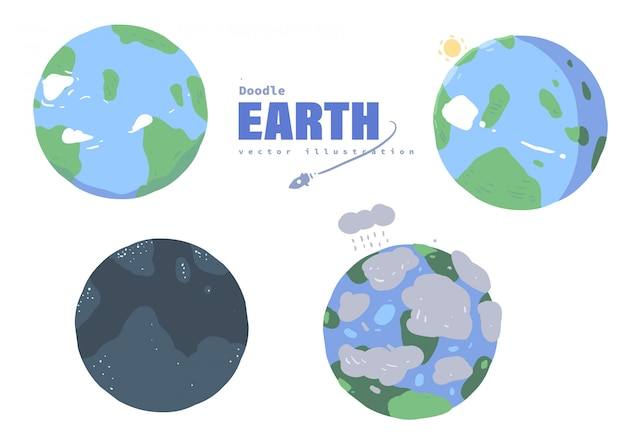Cartoon style earth doodle. earth