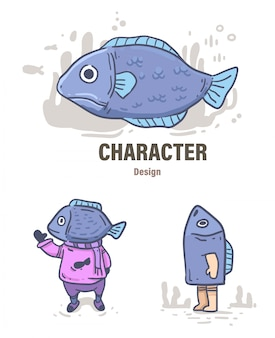 Cartoon style fish doodle . fish illustration