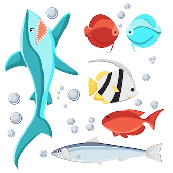 Cartoon style fish and water bubbles set for kids.