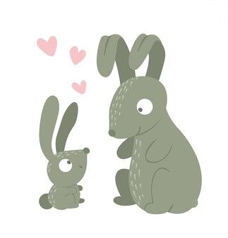 Мультяшном стиле плоские смешные кролик родитель с ребенком на белом фоне. симпатичные иллюстрации лесных животных