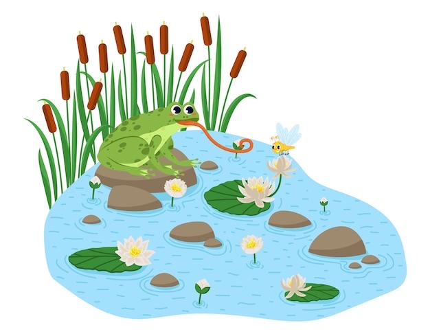 漫画風のカエルのシームレスなパターン。幸せなカエルが座っています。
