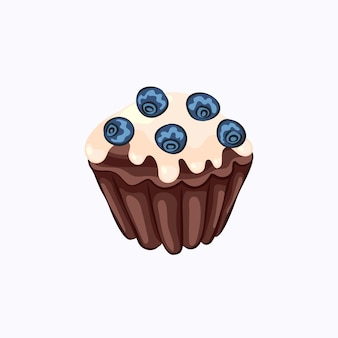 Cartoon style glazed chocolate muffin with blueberry vector icon isolated on the white background