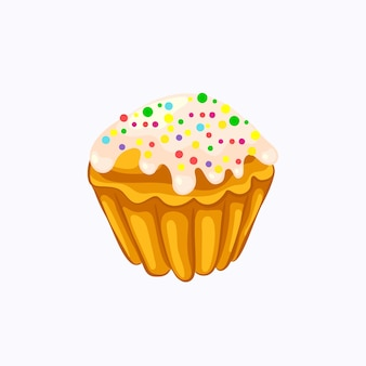 Cartoon style glazed sprinkle vanilla muffin vector icon isolated on the white background