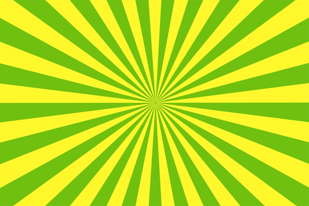 The cartoon style green and yellow background.