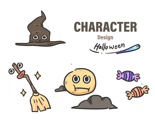 Cartoon style halloween doodle . halloween