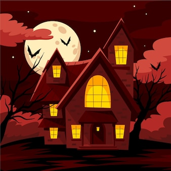 Cartoon style halloween house