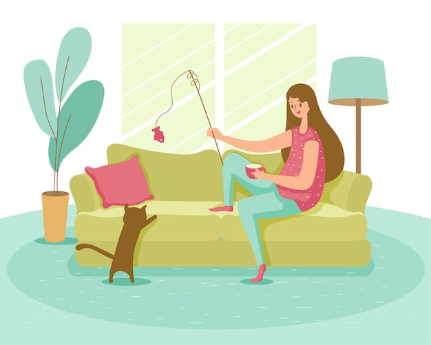 Cartoon style happy young  woman doing  regular activity in side home for stay healthy
