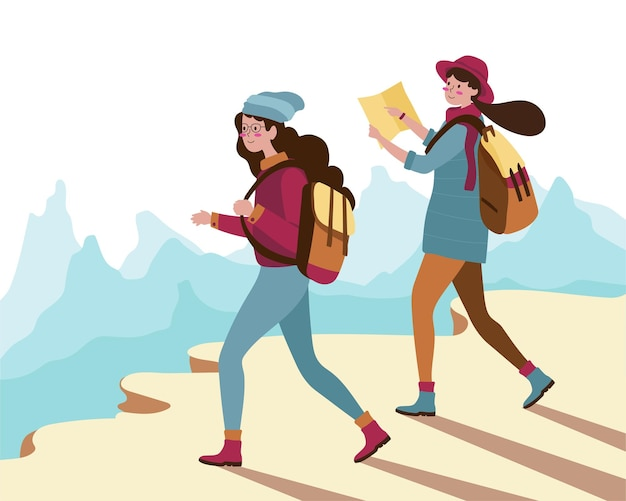 健康を維持するために家の外をハイキングする漫画スタイルの幸せな若い女性