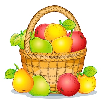Cartoon style illustration. harvest of ripe apples and pears in a basket. thanksgiving day.