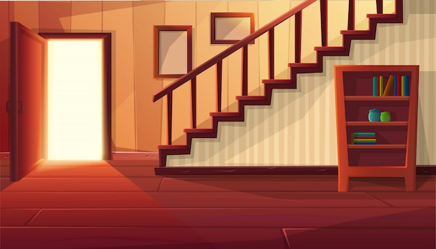 Cartoon style illustration of house interior. entrance open door with stairs and rustic vintage furniture and wooden floor.