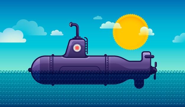 Мультяшный стиль иллюстрации подводной лодки.
