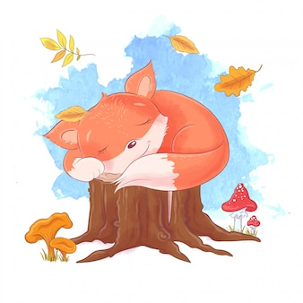 Cartoon style illustration of sleeping fox.